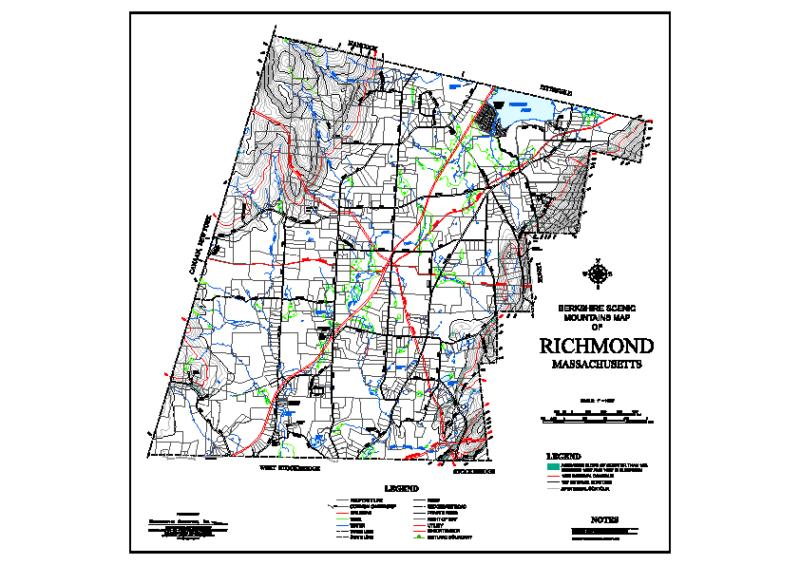 1992, 2013 Berkshire Scenic Mountains Map of Richmond Massachusetts