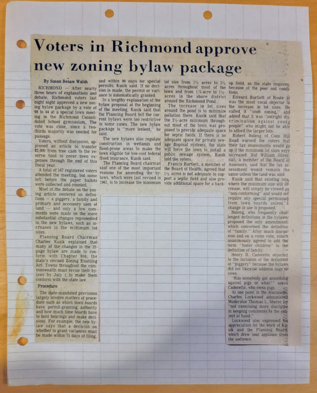 Richmond Voters Approve New Zoning Bylaws 1978