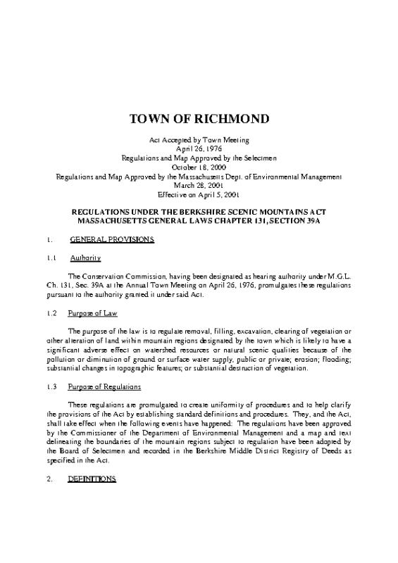 Scenic Mountain Regulations Effective April 5 2001