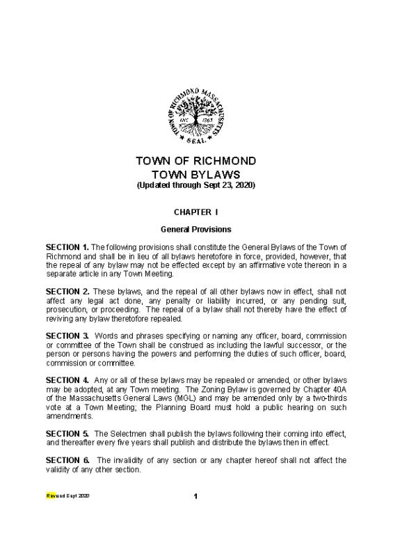 Richmond Town Bylaws