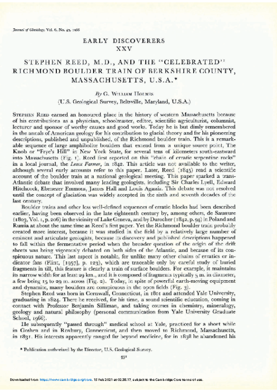 Early Discoverers. Stephen Reed, MD and the Celebrated Richmond Boulder Train of Berkshire County