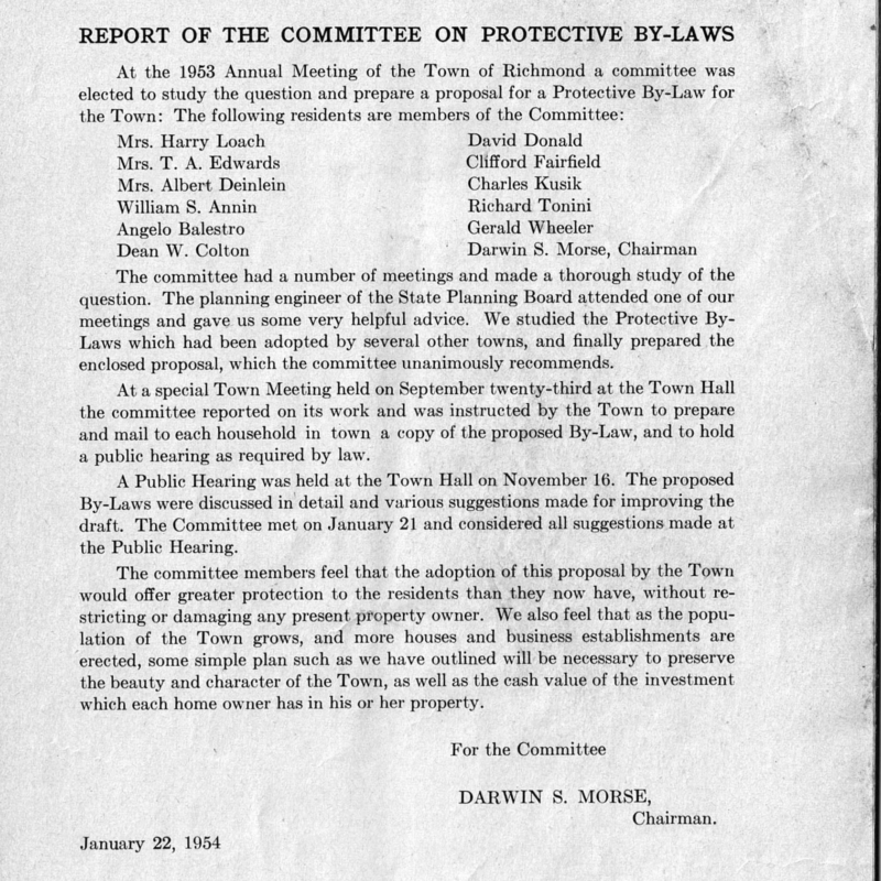 1954 Report of the Committee on Protective Bylaw