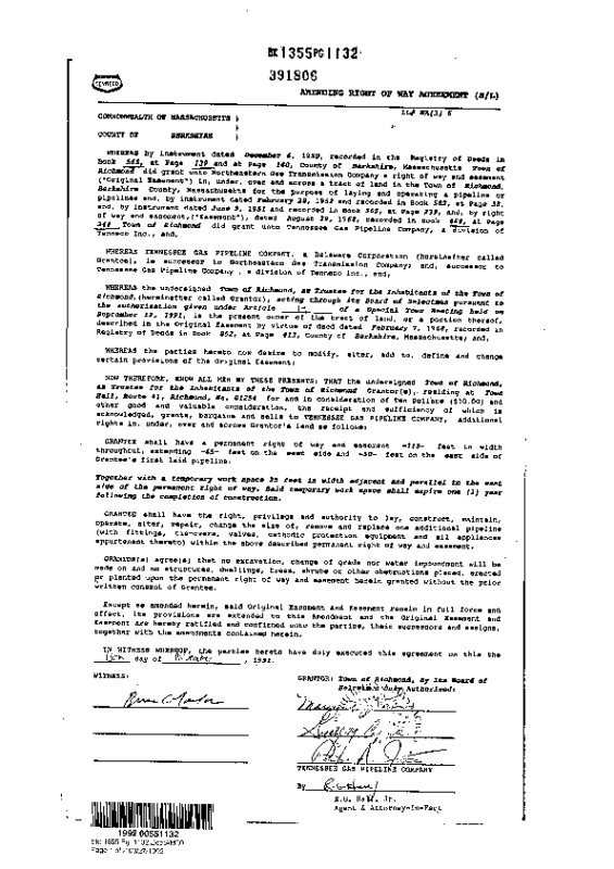 1352 1132 Amendment of Tennessee Pipeline ROW and Easement 1992