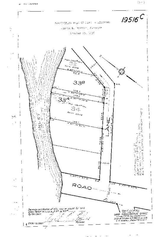 19516-C 1956 Subdivision of Lot 33  of Plan by Joseph E. Dolphin, Surveyor; Creates Lots 33A, 33B