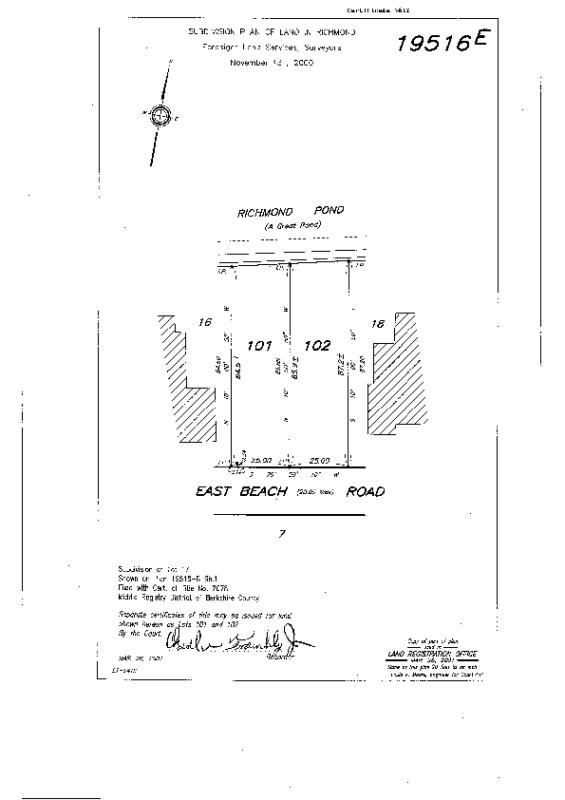 19516-E 2001 Subdivision of Lot 17; Creates Lots 101 & 102creates