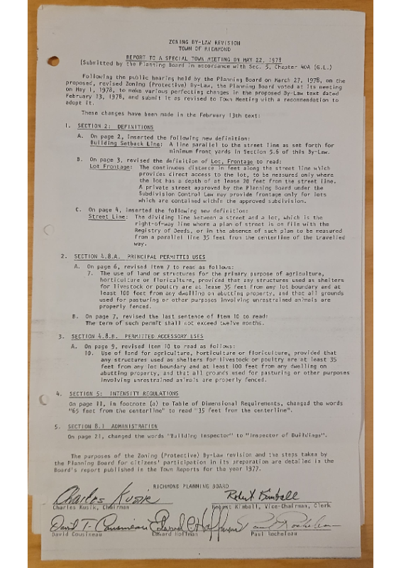 1978 Report to STM changes to text following hearing