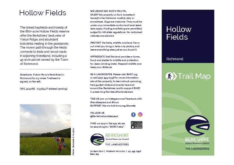 Hollow Fields Trail Map Showing 50 Acre Parcel
