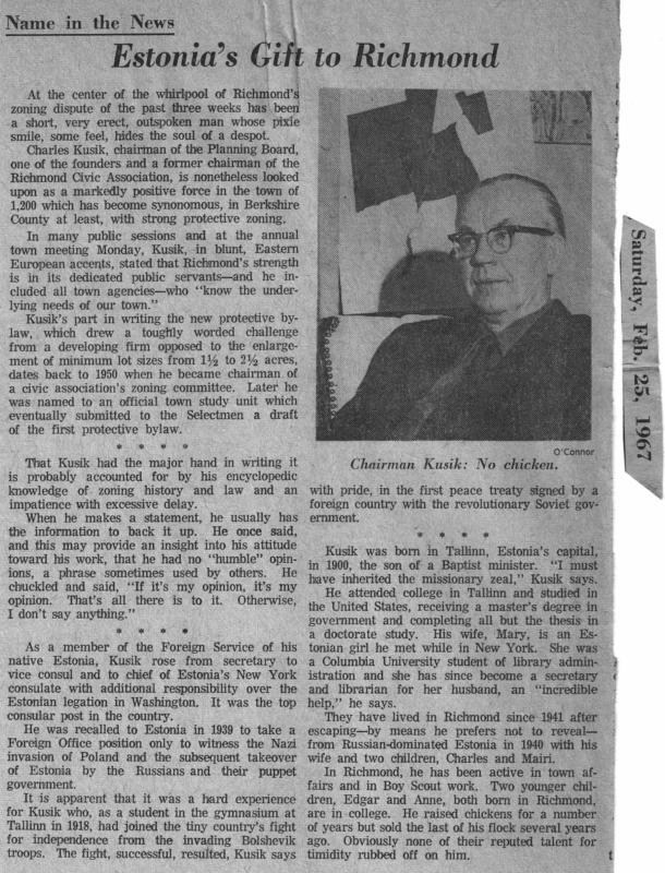 1967 Large Lot Zoning Champion Charles Kusic
