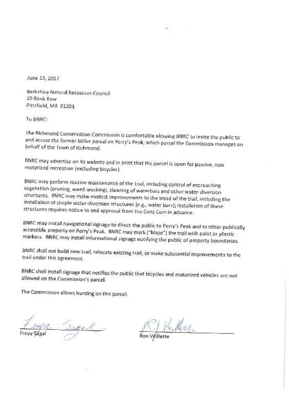 Trail Agreement with BNRC