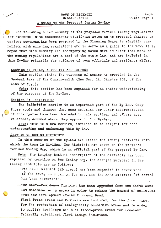 Richmond 1978 Guide to the Proposed By-Law