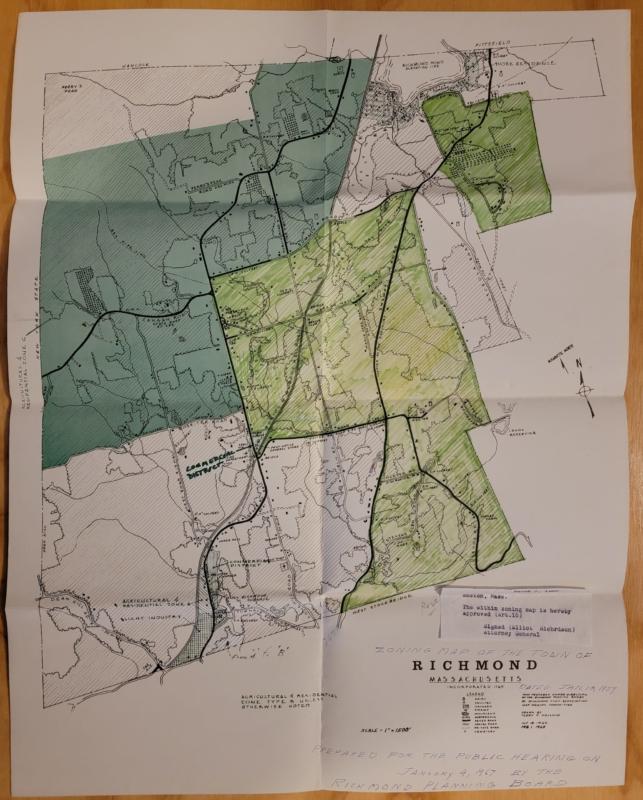 Richmond Massachusetts 1967 Zoning Map