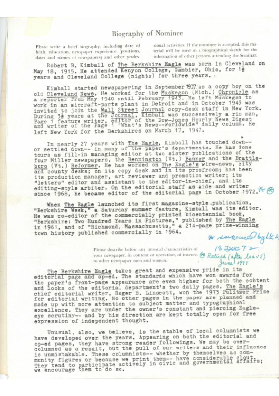 Biography submitted to American Press Institute 1974