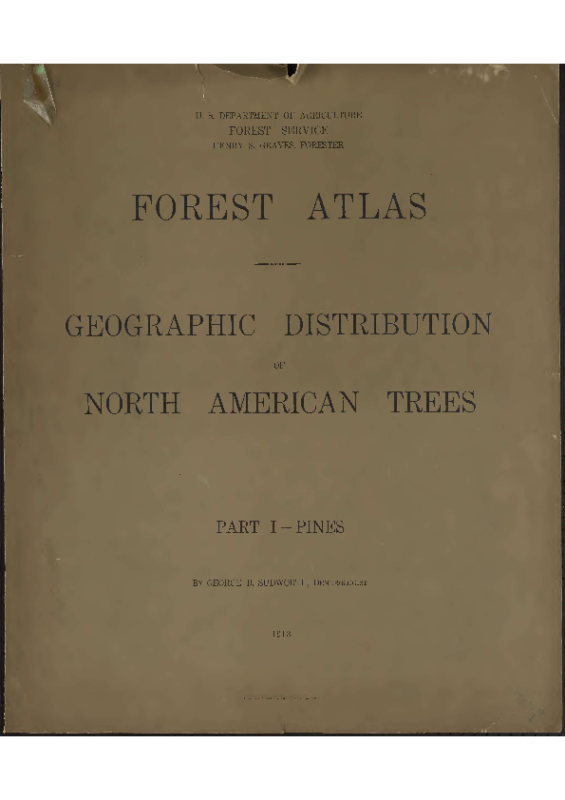 Forest Atlas Geographic Distribution of North American Trees 1913