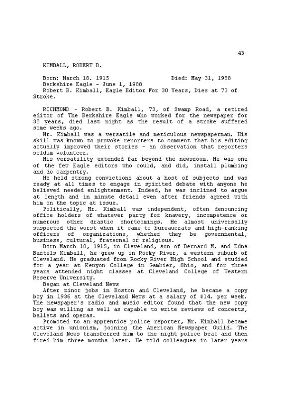 Robert Kimball Obituary