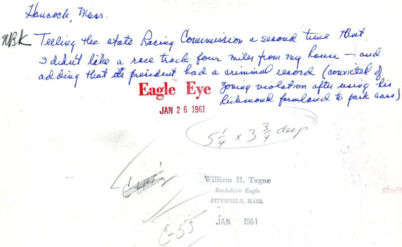 Robert Kimball Testifying 1961 back of photo